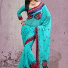 Partywear Faux Georgette Designer Embroiderey Sarees Sari With Blouse- X 1003C N
