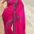 Partywear Faux Georgette Designer Embroiderey Sarees Sari With Blouse - X 960C N