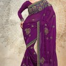 Partywear Faux Georgette Designer Embroiderey Sarees Sari With Blouse - X 966A N