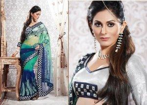 Net Partywear Bridal Designer Embroidered Sari Saree with Blouse - X 219 N