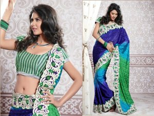Jacquard Partywear Bridal Designer Embroidered Sari Saree with Blouse - X 229 N
