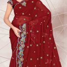 Partywear Faux Georgette Designer Embroidered Saris Saree With Blouse- LS 2416 N
