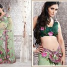 Net Partywear Bridal Designer Embroidered Sari Saree with Blouse - X 216 N
