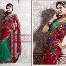 Net Partywear Bridal Designer Embroidered Sari Saree with Blouse - X 222 N