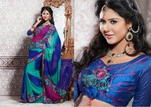 Georgette Partywear Bridal Designer Embroidered Sari Saree with Blouse - X 212 N