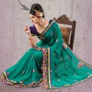 Faux Georgette Partywear Designer Embroidered Sari Saree With Blouse - X 7356C N