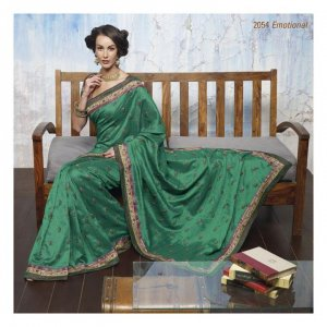 Raw Silk Partywear Designer Embroidered Saree Sari With Blouse- LPT 2054 N