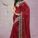 Faux Georgette Partywear Designer Embroidered Sari Saree With Blouse - X 7356D N
