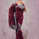Faux Georgette Partywear Designer Embroidered Sari Saree With Blouse - X 6368B N