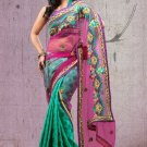 Faux Georgette Partywear Designer Embroidered Sari Saree With Blouse - X 6383A N