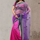Faux Georgette Partywear Designer Embroidered Sari Saree With Blouse - X 6383D N