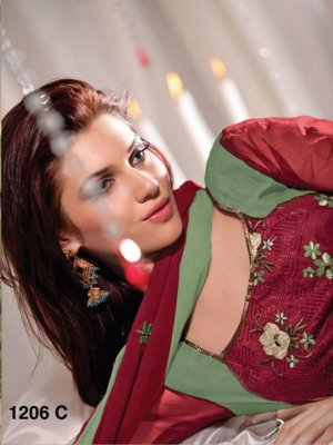 Designer Embroidered Suit Shalwar Salwar Kameez Indian Bollywood - X 1206c