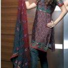 Shalwar Salwar Kameez Indian Designer Embroidered Crepe Suit - X 23