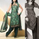 Shalwar Salwar Kameez Indian Designer Embroidered Crepe Suit - X 78