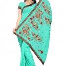 Indian Bollywood Designer Saree Embroidery Stylish Traditional Sari - TU 579