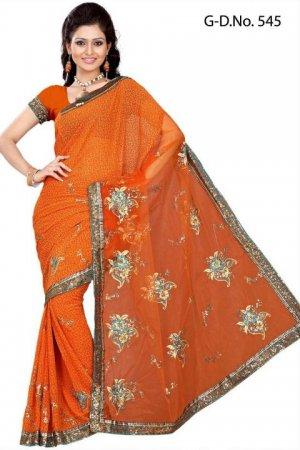 Indian Bollywood Designer Saree Embroidery Stylish Traditional Sari - TU 545