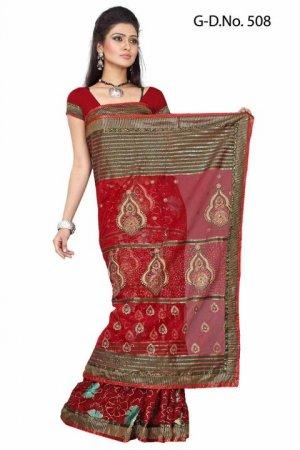Indian Bollywood Designer Saree Embroiderey Stylish Traditional Sari - TU 508