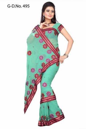 Indian Bollywood Designer Saree Embroiderey Stylish Traditional Sari - TU 495