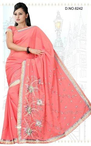 Indian Bollywood Designer Saree Embroidered Sari - TU6242