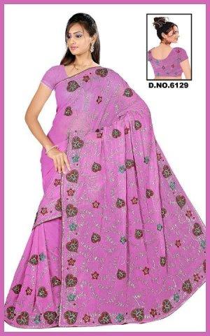 Indian Bollywood Designer Saree Embroidered Sari - TU6129