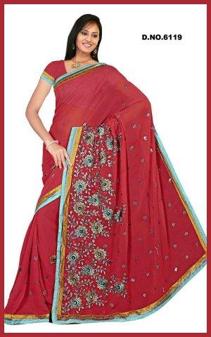 Indian Bollywood Designer Saree Embroidered Sari - TU6119