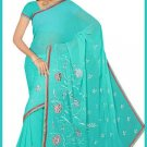 Indian Bollywood Designer Saree Embroidered Sari - TU6098