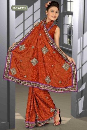 Indian Bollywood Designer Saree Embroidered Sari - TU5941