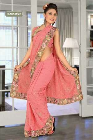 Indian Bollywood Designer Saree Embroidered Sari - TU5928