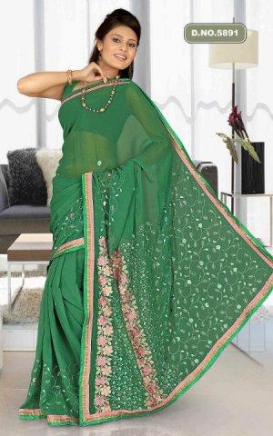 Indian Bollywood Designer Saree Embroidered Sari - TU5891