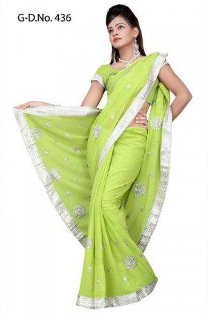 Indian Bollywood Designer Saree Embroidered Sari - TU436