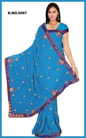 Indian Bollywood Designer Embroidered Saree Sari - Tu5567
