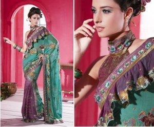 Indian Bollywood Designer Embroidered Bridal Wedding Saree Sari - X 824
