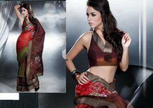 Faux Georgette Bridal Designer Embroidered Sarees Sari With Blouse - X 402