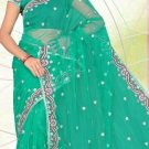 Partywear Net Designer Embroidered Saree Sari with Blouse- LS 2228a N