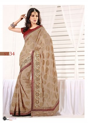 Sari Sarees Faux Georgette Fancy Embroidery Sari With Unstitch Blouse - RTN 34 N
