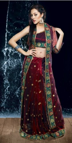 Bollywood Net Bridal Embroidered Sarees Sari With Blouse - X 506
