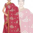 Indian Faux Georgette Wedding Embroidered Saris Sarees With Blouse - HZ 175d N