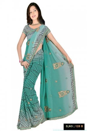 Indian Faux Georgette Wedding Embroidered Saris Sarees With Blouse - HZ 128b N