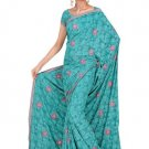 Indian Faux Georgette Wedding Embroidered Saris Sarees With Blouse - HZ 136b N