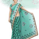Indian Faux Georgette Wedding Embroidered Saris Sarees With Blouse - HZ 154a N