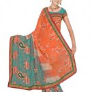Indian Faux Georgette Wedding Embroidered Saris Sarees With Blouse - HZ 133c N