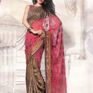 Brasso Georgette Wedding Heavy Embroidered Sarees Sari With Blouse - X 2424