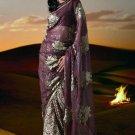 Brasso Georgette Fabric Sea Purple Color Designer Embroidered Saree Sari - X818B