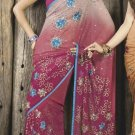 Faux Georgette Fabric Violet Red Color Designer Embroidered Saree Sari - X 707A