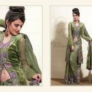 Georgette Net Dark Olive Green Heavy Embroidery Saree Sari With Blouse - MD 5015