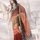 Faux Georgette Wedding Heavy Embroidered Sarees Sari With Blouse - X 2411