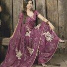 Faux Georgette Fabric Medium Orchid Color Designer Embroidered Saree Sari -X715A