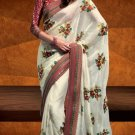 Faux Georgette Wedding Designer Embroidered Saree Sari With Blouse - X 1604