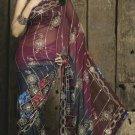 Faux Georgette Fabric Gray & Brown Color Designer Embroidered Saree Sari - X713B