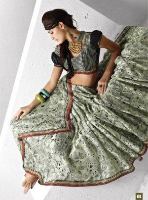 Indian Womens Clothing Saree Printed Saree Sari - X5608B